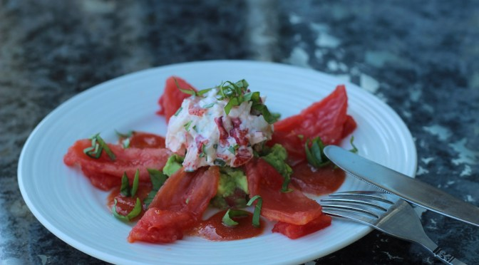 Lobster and Guacamole Salad with vodka-spiked tomato sauce