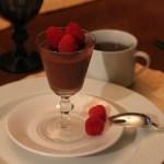 Chocolate pot de crème with raspberries