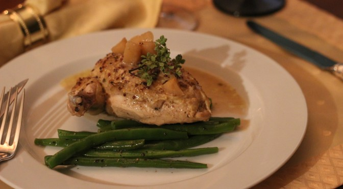 Chicken braised with apples and cider