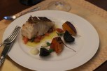 Pan fried sea bass, with caramelized beets, cauliflower puree and sauce vierge