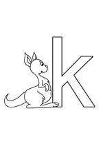Coloriage à imprimer de la lettre de l'alphabet K