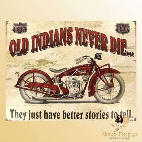 plaque metal deco moto ancienne indian