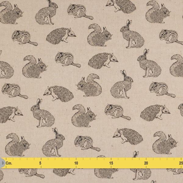 tissu coton epais beige animaux
