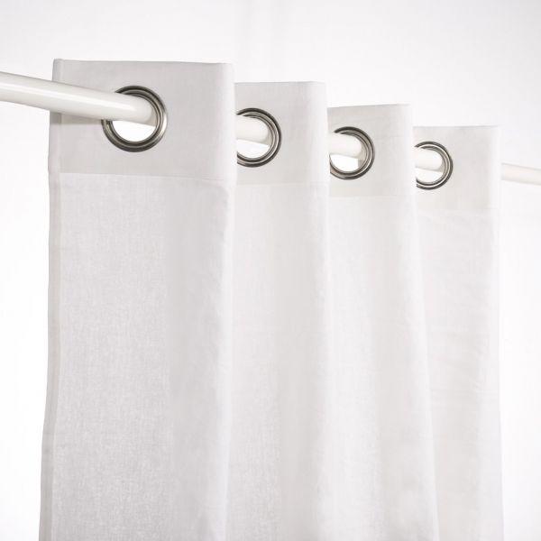 rideau lin boheme blanc
