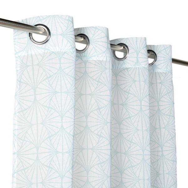 rideau voilage motifs geometriques bleus