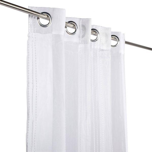 rideau voilage uni blanc raye