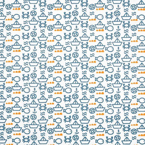 tissu coton imprime marin
