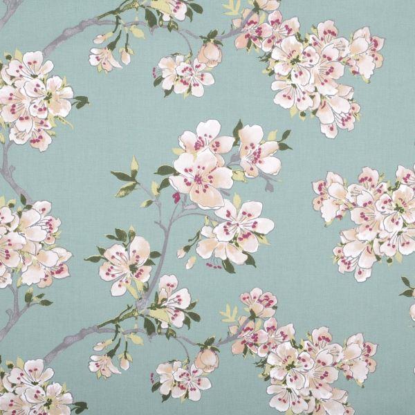 tissu coton enduit imprime cerisier du japon