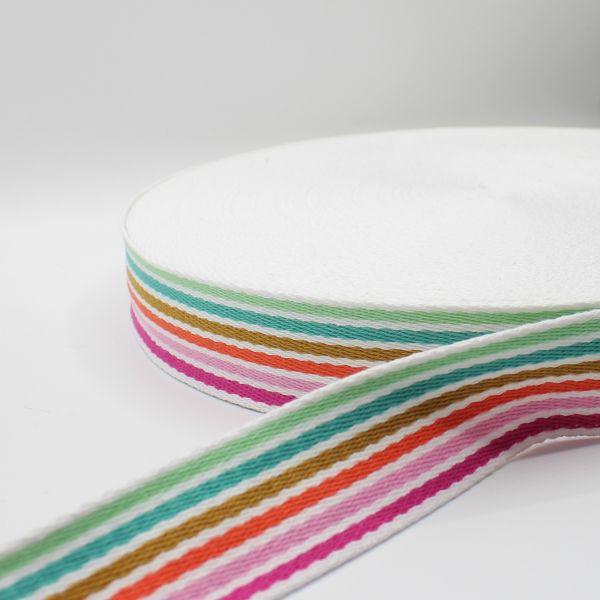 Sangle pour sac rayures multicolores blanc 38mm