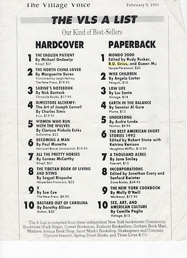 Village Voice 'VLS Playlist' paperback list, Feb. 9, 1993