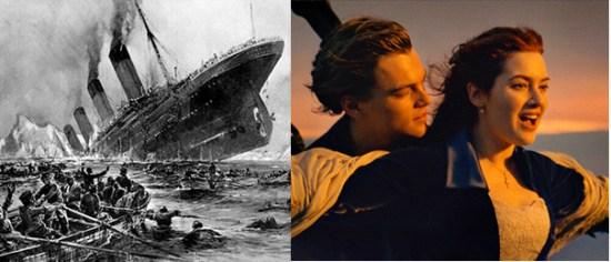 "Titanic hundiéndose y poster de película ""Titanic"""