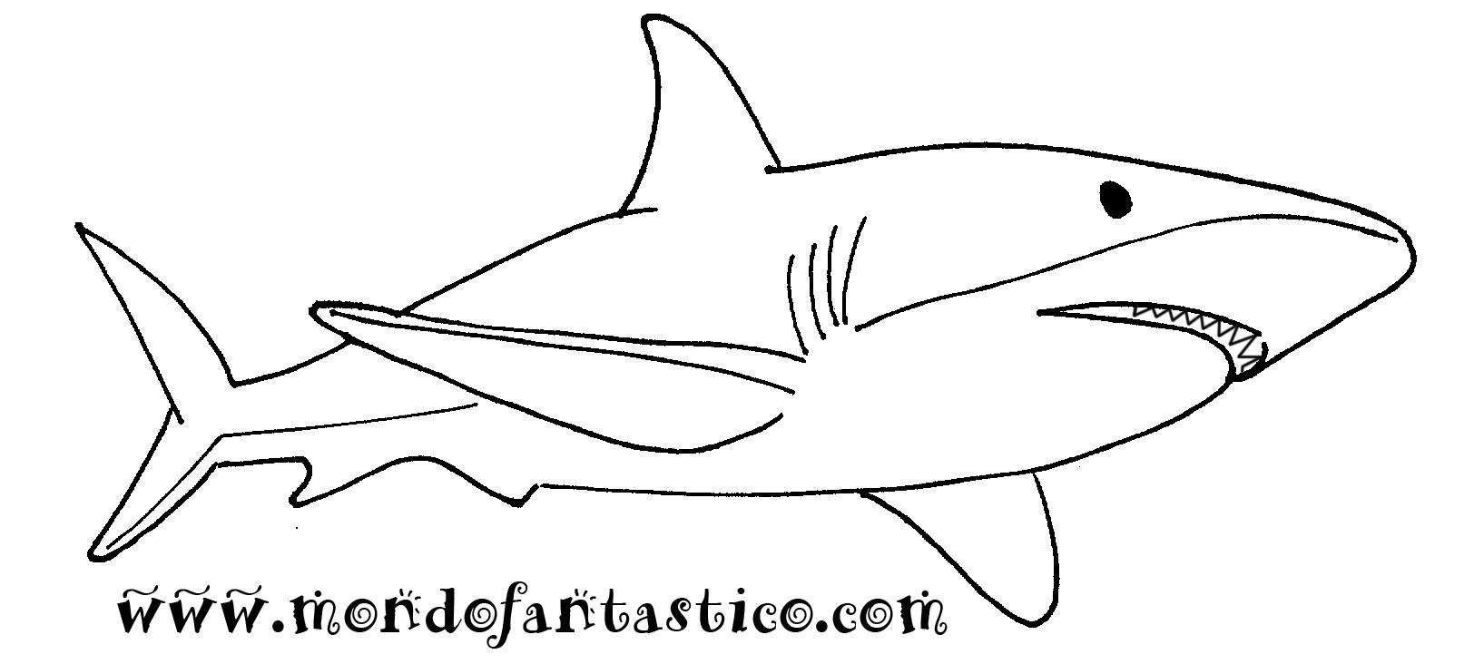 Stampa e colora lo squalo for Immagini squali da stampare