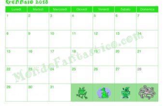 Calendario per Bambini, mese di Gennaio