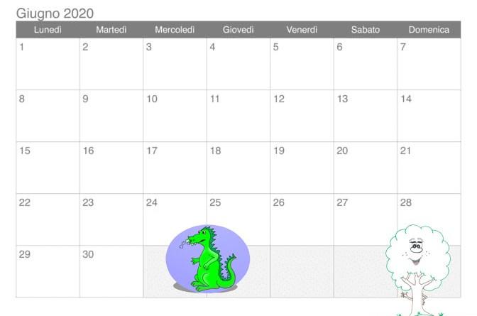 calendario giugno 2020