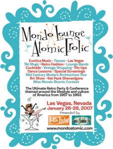 Advertisement for Mondo Lounge Atomic Frolic with graphics by Derek Yaniger