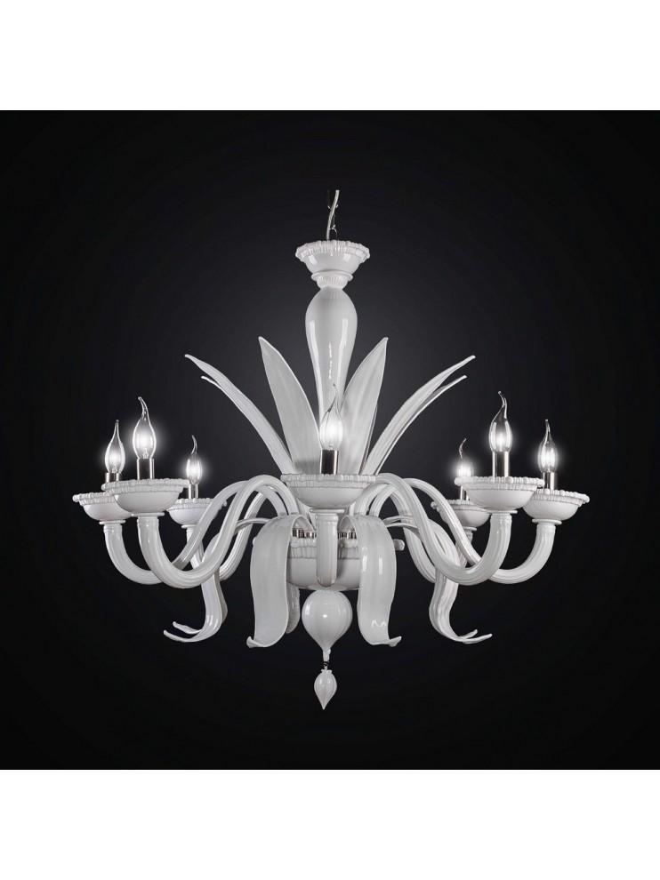 De majo illuminazione dal 1947 produce lampadari classici e moderni in vetro di murano per l'illuminazione di design, lampade e lampadari arredo. Lampadario Murano Bianco Moderno 8 Luci Bga 2620 8