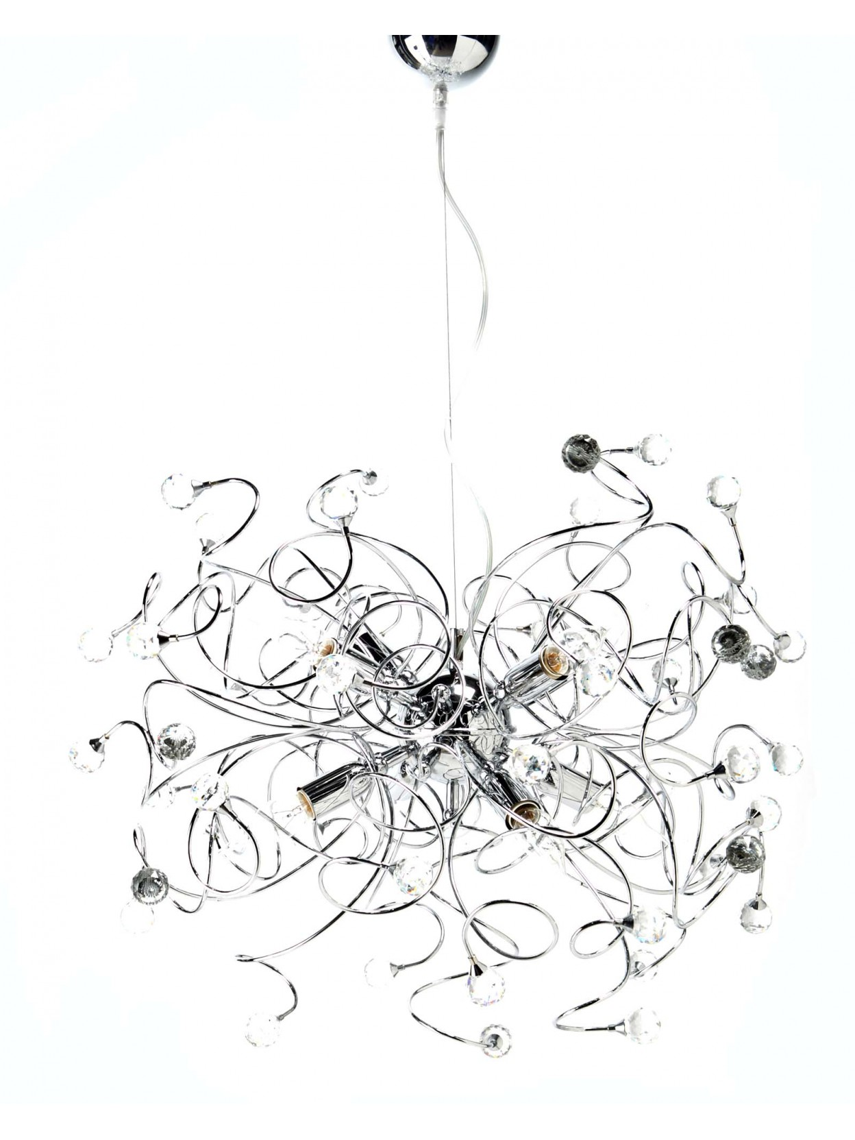 Modern Chandelier In Transparent Crystal 6 Lights Diamante