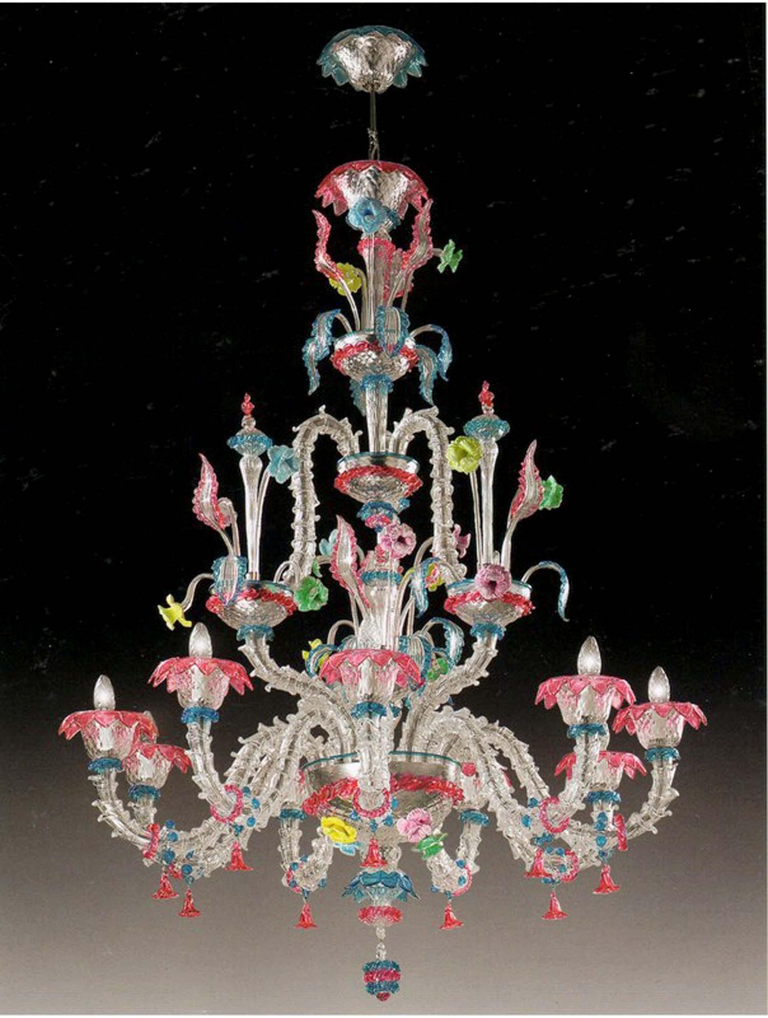 Realizziamo lampadari rezzonico su misura del cliente. Lampadario Murano 9 Luci Multicolor Voltolina Ca Rezzonico