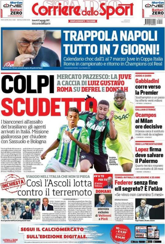 Corriere Dello Sport Calendario.Corrsport In Prima Pagina Trappola Napoli Tutto In 7