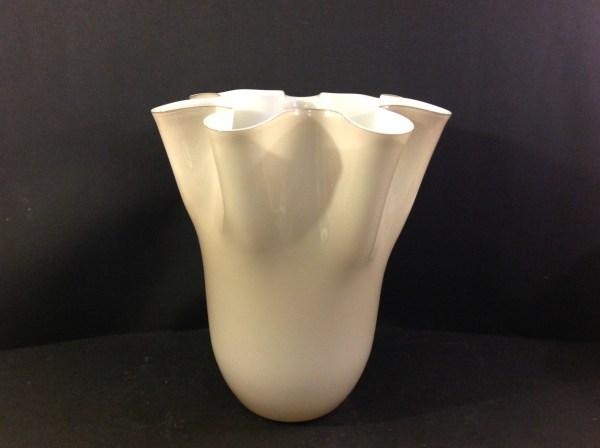 EDG (Enzo De Gasperi) Vaso in vetro beige interno bianco ondulato EDG
