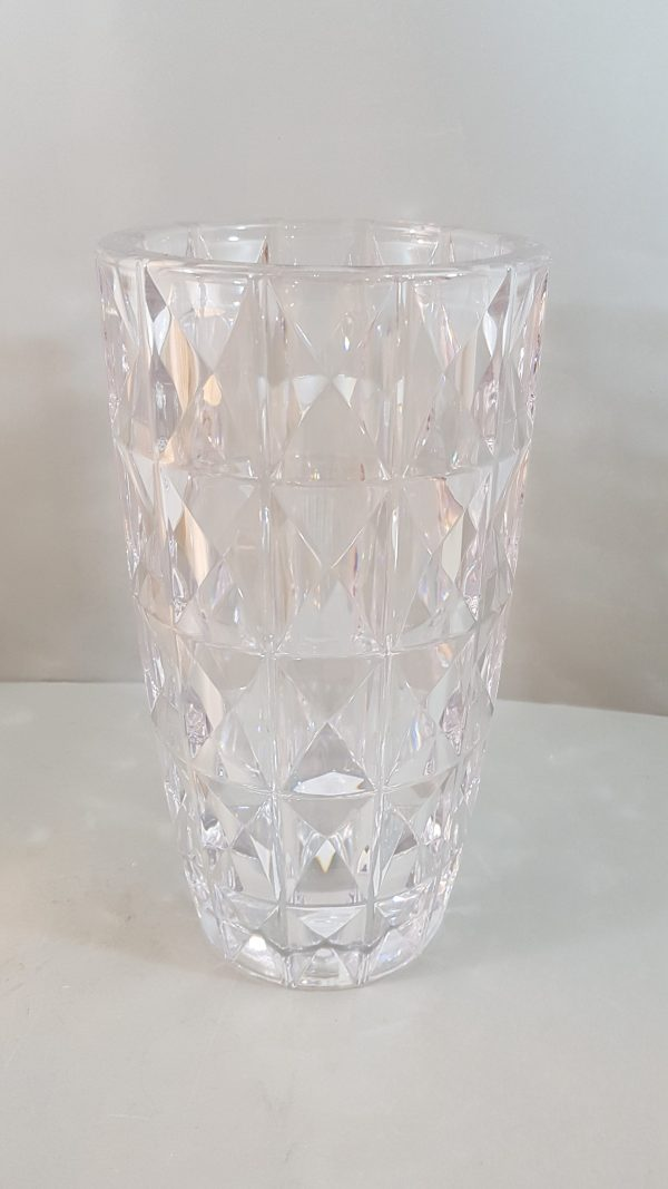 vaso trasparente decoro rombi intagliati