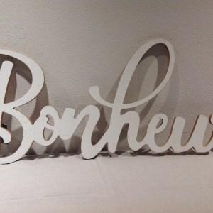 """scritta legno """"Bonheur"""" bianco decapato"""