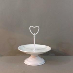 alzatina bianca ceramica e metallo