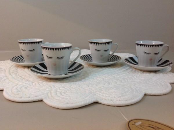 set 4 tazzine caffè con piattino in ceramica