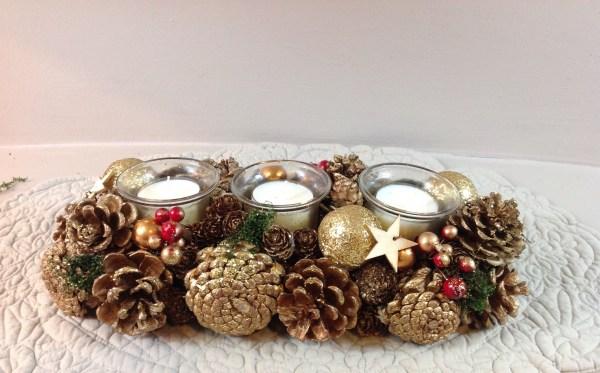 porta candele natalizio pigne e bacche bronzo/oro