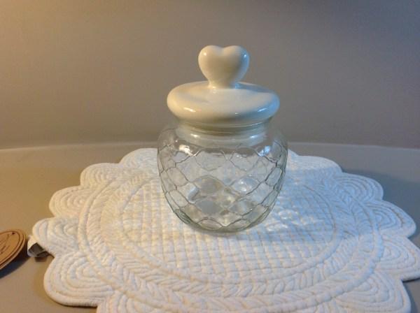 Gicos Barattolo in vetro lavorato con tappo in ceramica con cuore