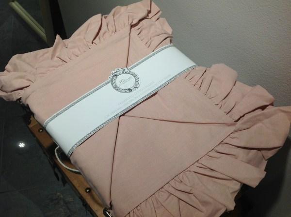 Blanc Mariclò Lenzuolo matrimoniale rosa con frappe