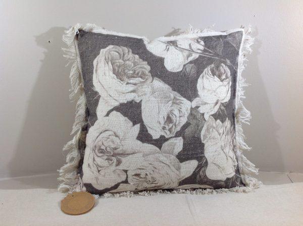 Blanc Mariclò Cuscino fiori panna fondo tortora