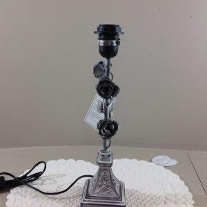 Clayre & Eef base lampada in ferro grigio con rose-Clayre e Eef