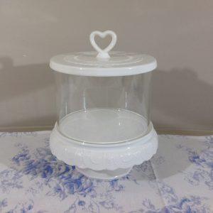 Blanc Mariclò Barattolo con coperchio cuore con piede in ceramica bianco latte