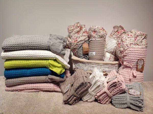 L'Atelier 17 Set asciugamano+ospite bianco in nido d'ape con frappa