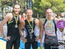Il podio maschile dell'Aquaticrunner Grado – Lignano 2017: (da sinistra) Faris Al-Sultan, Massimo Guadagni e Francesco Cauz (Foto ©Aquaticrunner / Daniel Miot photographer)