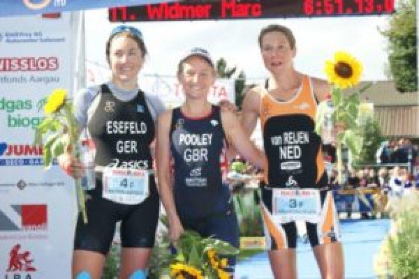 Le top 3 del Powerman Zofingen - ITU Duathlon Long Distance World Championship: Emma Pooley, MiriamVan Reijen e Katrin Esefeld (Foto ©triathlon.org)