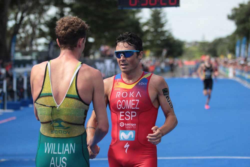 Javier Gomez è quinto nell'ITU Triathlon World Cup, a New Plymouth (Nuova Zelanda), vinta dall'australiano Luke Willian (Foto ©ITU Media / Jo Caird).