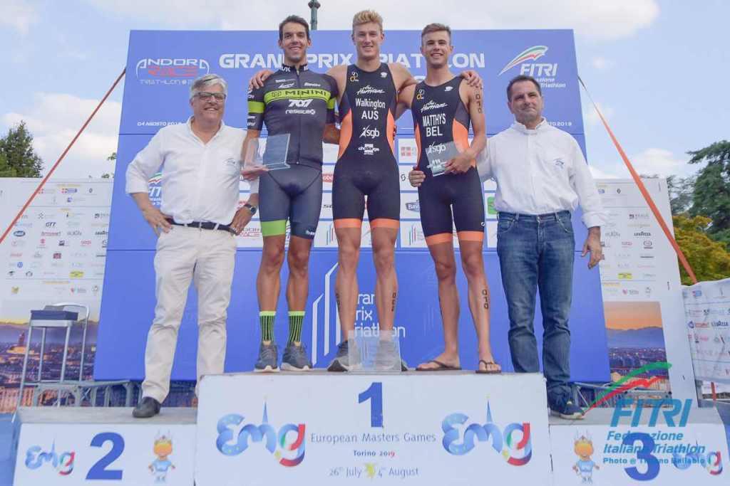 Il podio maschile della 2^ tappa del Grand Prix 2019 a Torino (Foto ©Tiziano Ballabio / FiTri).
