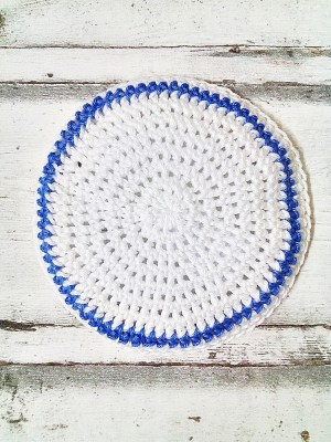 Kippa Zion gehäkelt weiß blau - MONDSPINNE