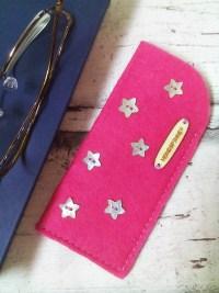 """Brillenetui/ Filzetui """"Sterne"""" (pink) von Mondspinne"""