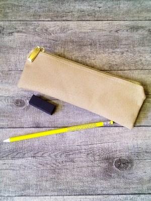Stiftemäppchen Federmäppchen (beige-gold), aus Schweinsleder - MONDSPINNE