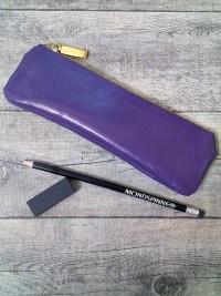 Stiftemäppchen Federmäppchen (lila-gold), aus Ziegenleder - MONDSPINNE