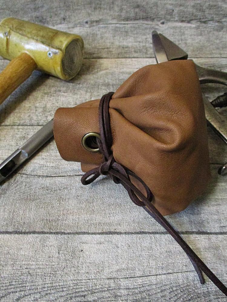 Lederbeutel karamell Ziegenleder - MONDSPINNE