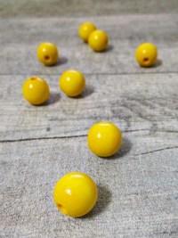 Holzperlen Holzkugeln 12mm Großloch Fädelloch 3mm gelb - MONDSPINNE