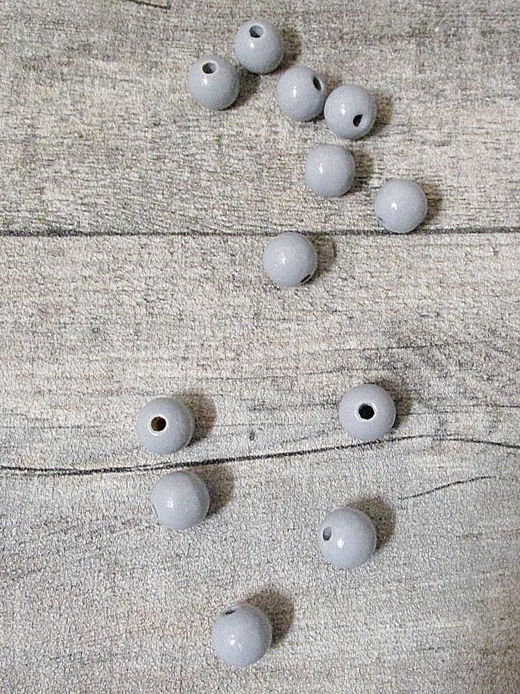 Holzperlen Holzkugeln 12mm Großloch Fädelloch 3mm grau - MONDSPINNE