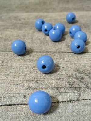 Holzperlen Holzkugeln 12mm Großloch Fädelloch 3mm kornblumenblau - MONDSPINNE