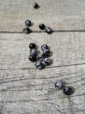 Steinperlen Perlen Edelstein Schneeflocken-Obsidian grau schwarz 4mm - MONDSPINNE