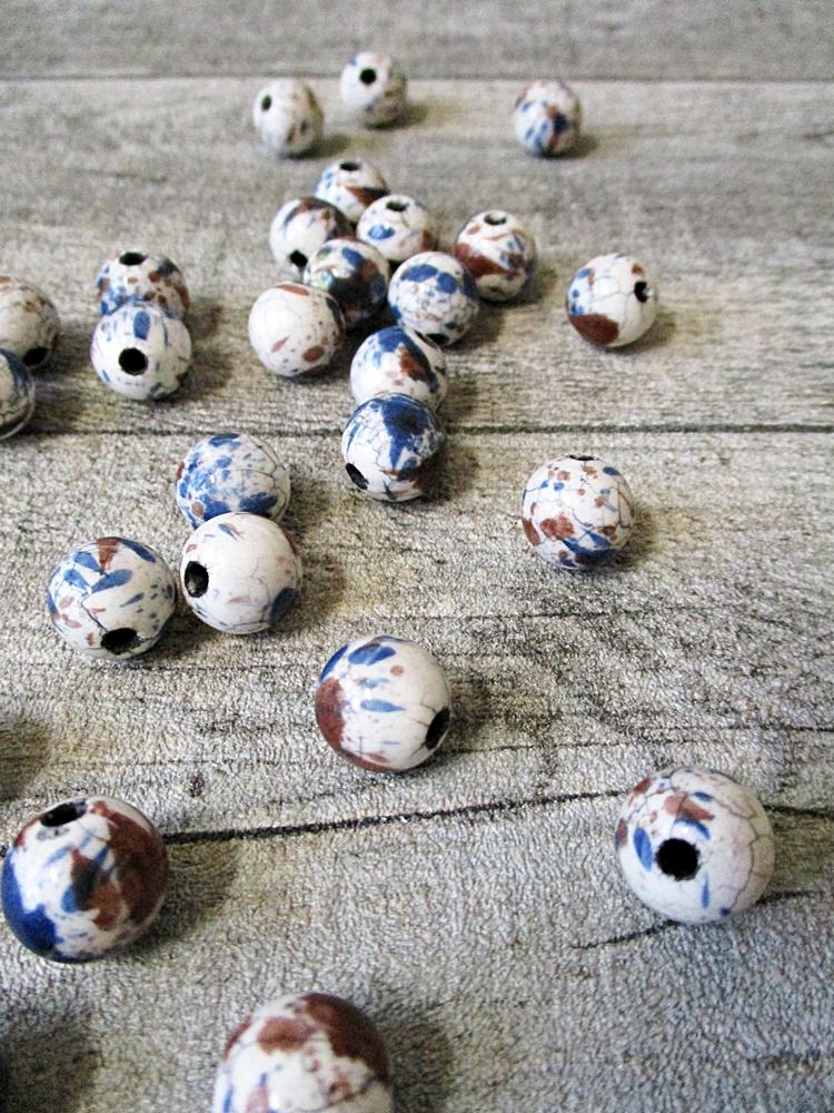 Porzellanperlen Großlochperlen Knistern Stil stahlblau - MONDSPINNE