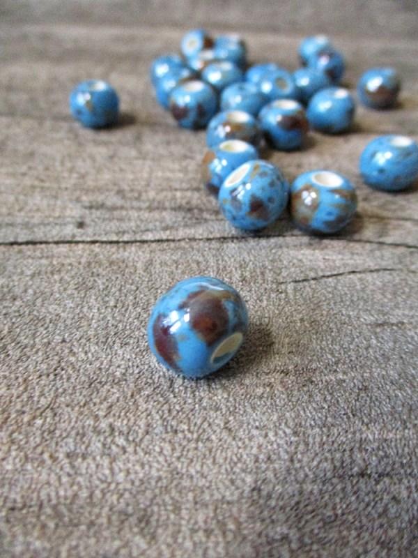 Porzellanperlen Großlochperlen dodgerblue perlig - MONDSPINNE
